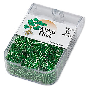 bugle bead, ming tree™, glass, silver-lined translucent emerald green, 1/4 inch. sold per 1/4 pound pkg.