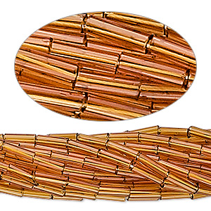bugle bead, preciosa, czech glass, transparent dark topaz brown, #3. sold per 1/2 kilogram pkg.