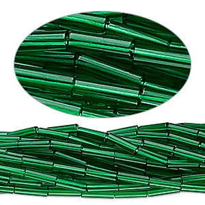 bugle bead, preciosa, czech glass, transparent medium green, #3. sold per hank.