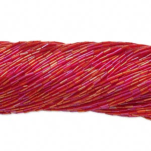 bugle bead, preciosa, czech glass, transparent rainbow red, #3. sold per 1/2 kilogram pkg.