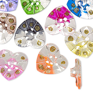button, acrylic, clear/white/multicolored with gold-colored glitter, 30x29mm single-sided heart with painted dots. sold per pkg of 12.