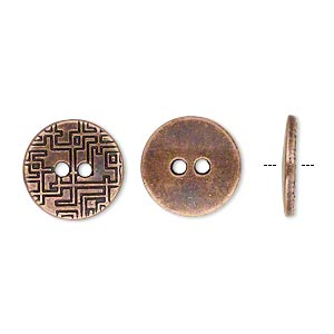 button, antique copper-plated pewter (zinc-based alloy), 15mm single-sided flat round with geometric design. sold per pkg of 20.