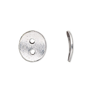 button, antique silver-plated pewter (tin-based alloy), 15x13mm textured curved flat oval. sold per pkg of 2.