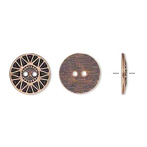 button, antiqued copper-finished pewter (zinc-based alloy), 12.5mm single-sided flat round with sunburst design. sold per pkg of 50.