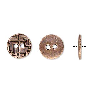 button, antiqued copper-finished pewter (zinc-based alloy), 12mm single-sided flat round with geometric design. sold per pkg of 50.