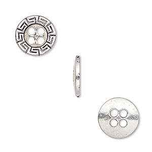 button, antiqued silver-finished pewter (zinc-based alloy), 12mm single-sided flat round with greek key design. sold per pkg of 50.