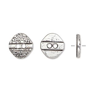 button, antiqued silver-finished pewter (zinc-based alloy), 12x11.5mm single-sided textured flat diamond. sold per pkg of 50.
