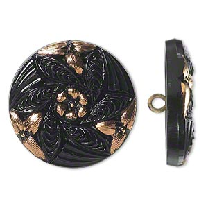 button, czech glass and brass, black and gold, 27mm round with flower design. sold individually.