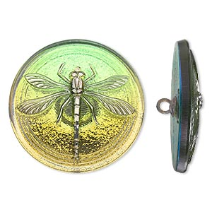 button, czech glass and brass, iridescent olivine green and silver, 31mm round with dragonfly design. sold individually.