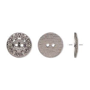 button, gunmetal-finished pewter (zinc-based alloy), 12.5mm single-sided flat round with sunburst design. sold per pkg of 50.
