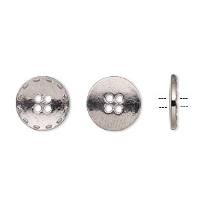 button, gunmetal-finished pewter (zinc-based alloy), 12mm single-sided flat round with stitched edge. sold per pkg of 50.