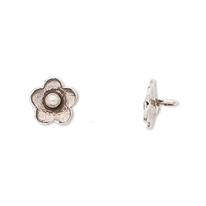 button, hill tribes, antiqued fine silver, 10x10mm flower. sold per pkg of 2.