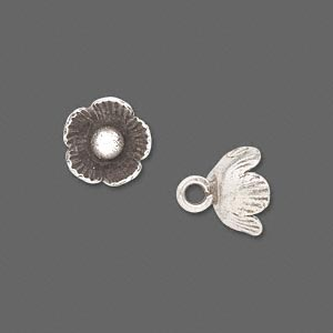 button, hill tribes, antiqued fine silver, 12x12mm flower. sold per pkg of 2.