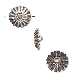 button, hill tribes, antiqued fine silver, 14mm corrugated domed round. sold per pkg of 4.