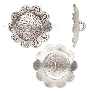 button, hill tribes, antiqued fine silver, 22x22mm puffed sunflower. sold per pkg of 2.