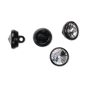 button, swarovski crystals and acrylic, crystal clear and black, 10mm round. sold per pkg of 144 (1 gross).