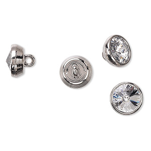 button, swarovski crystals and acrylic, crystal passions, crystal clear and silver, 10mm round. sold per pkg of 4.