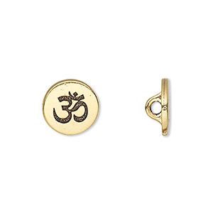 button, tierracast, antique gold-plated pewter (tin-based alloy), 12mm flat round with om symbol and hidden loop. sold individually.