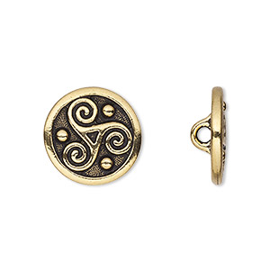 button, tierracast, antique gold-plated pewter (tin-based alloy), 16mm flat round with triskele and hidden closed loop. sold per pkg of 2.