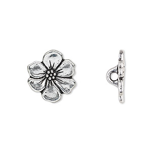 button, tierracast, antique silver-plated pewter (tin-based alloy), 15x14mm flower with hidden loop. sold per pkg of 2.