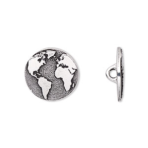 button, tierracast, antique silver-plated pewter (tin-based alloy), 16mm flat round with earth and hidden closed loop. sold per pkg of 2.