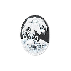 cabochon, acrylic, black and white, 25x18mm non-calibrated oval cameo with palm tree and flamingo. sold per pkg of 12.
