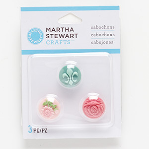 cabochon, acrylic, opaque assorted colors, 15mm non-calibrated round with flower and fleur-de-lis design. sold per pkg of 3.