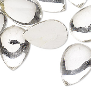 cabochon, acrylic, transparent clear, 25x18mm non-calibrated teardrop. sold per pkg of 24.