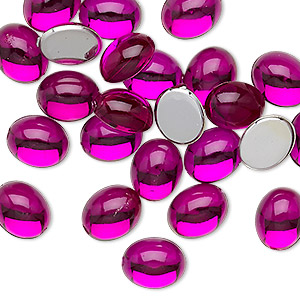 cabochon, acrylic, transparent magenta, 10x8mm non-calibrated oval. sold per pkg of 24.