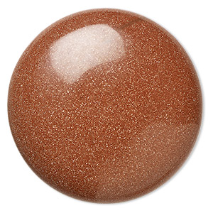 cabochon, brown goldstone (man-made), 38mm calibrated round. sold individually.