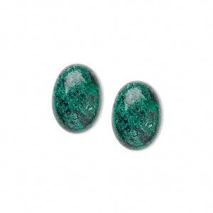 cabochon, chrysocolla (stabilized), 14x10mm calibrated oval, c grade, mohs hardness 2 to 4. sold per pkg of 2.