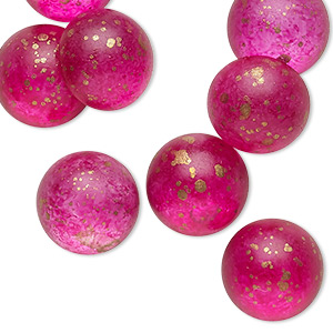 cabochon, coated acrylic, gold and translucent magenta, 14mm non-calibrated round with speckles. sold per pkg of 10.