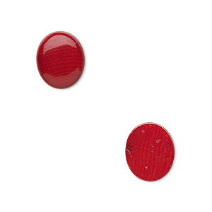 cabochon, coral (dyed), red, 12x10mm calibrated oval, mohs hardness 3-1/2 to 4. sold per pkg of 2.
