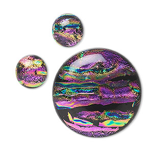 cabochon, dichroic glass, purple and multicolored, 12mm and 30mm non-calibrated round. sold per 3-piece set.