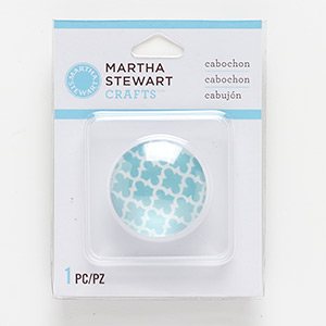 cabochon, glass, clear / teal / white, 30mm non-calibrated round with trellis decal. sold individually.