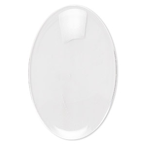 cabochon, glass, transparent clear, 30x20mm non-calibrated oval. sold per pkg of 10.
