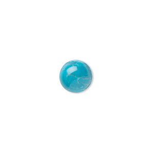 cabochon, howlite (dyed), turquoise blue, 8mm calibrated round, b grade, mohs hardness 3 to 3-1/2. sold per pkg of 10.