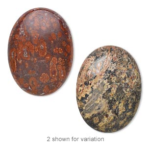 cabochon, leopardskin jasper (natural), 40x30mm calibrated oval, b grade, mohs hardness 6-1/2 to 7. sold individually.