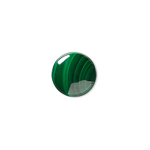 cabochon, malachite (natural), 14mm calibrated round, b grade, mohs hardness 3-1/2 to 4. sold individually.