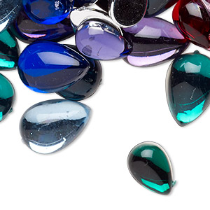 cabochon mix, acrylic, transparent and opaque mixed colors, 13x8mm-18x13mm non-calibrated teardrop. sold per 2-ounce pkg, approximately 95 cabochons.
