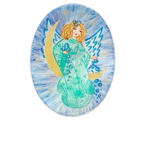 cabochon, mother-of-pearl shell, blue and green, 40x30mm calibrated oval with hand-painted angel, mohs hardness 3-1/2. sold individually.