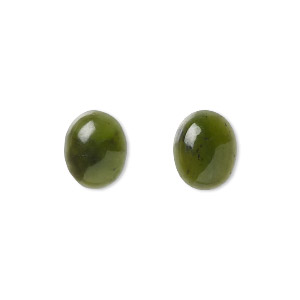 cabochon, nephrite jade (natural), 10x8mm calibrated oval, b grade, mohs hardness 6 to 6-1/2. sold per pkg of 2.