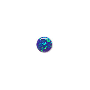 cabochon, opal (man-made), dark blue, 8mm calibrated round. sold individually.