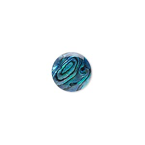 cabochon, paua shell (coated / dyed), blue, 12mm calibrated round, mohs hardness 3-1/2. sold per pkg of 4.
