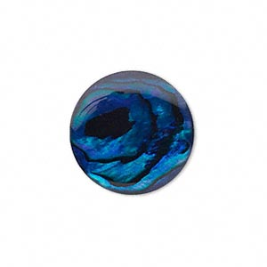 cabochon, paua shell (coated / dyed), blue, 20mm calibrated round, mohs hardness 3-1/2. sold per pkg of 2.