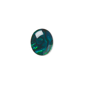 cabochon, paua shell (coated / dyed), green, 12x10mm calibrated oval, mohs hardness 3-1/2. sold per pkg of 6.