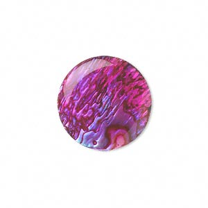 cabochon, paua shell (coated / dyed), pink, 20mm calibrated round, mohs hardness 3-1/2. sold per pkg of 2.