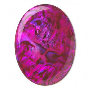 cabochon, paua shell (coated / dyed), pink, 40x30mm calibrated oval, mohs hardness 3-1/2. sold individually.