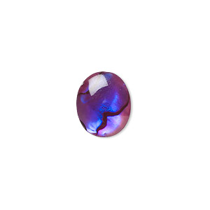 cabochon, paua shell (coated / dyed), purple, 12x10mm calibrated oval, mohs hardness 3-1/2. sold per pkg of 6.