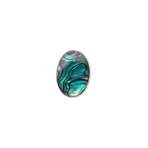 cabochon, paua shell (coated), 14x10mm calibrated oval, mohs hardness 3-1/2. sold per pkg of 6.